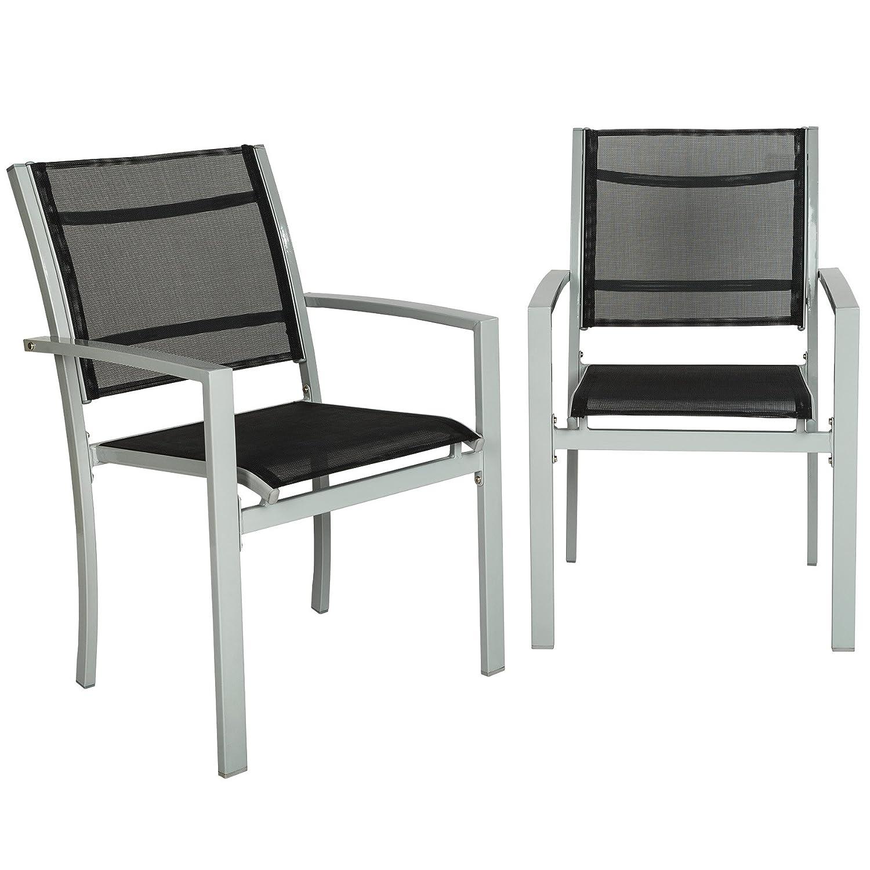 TecTake Juego de 2 Sillas de jardín sillón balcón terraza silla de exterior | varios modelos (gris | No. 402065): Amazon.es: Jardín