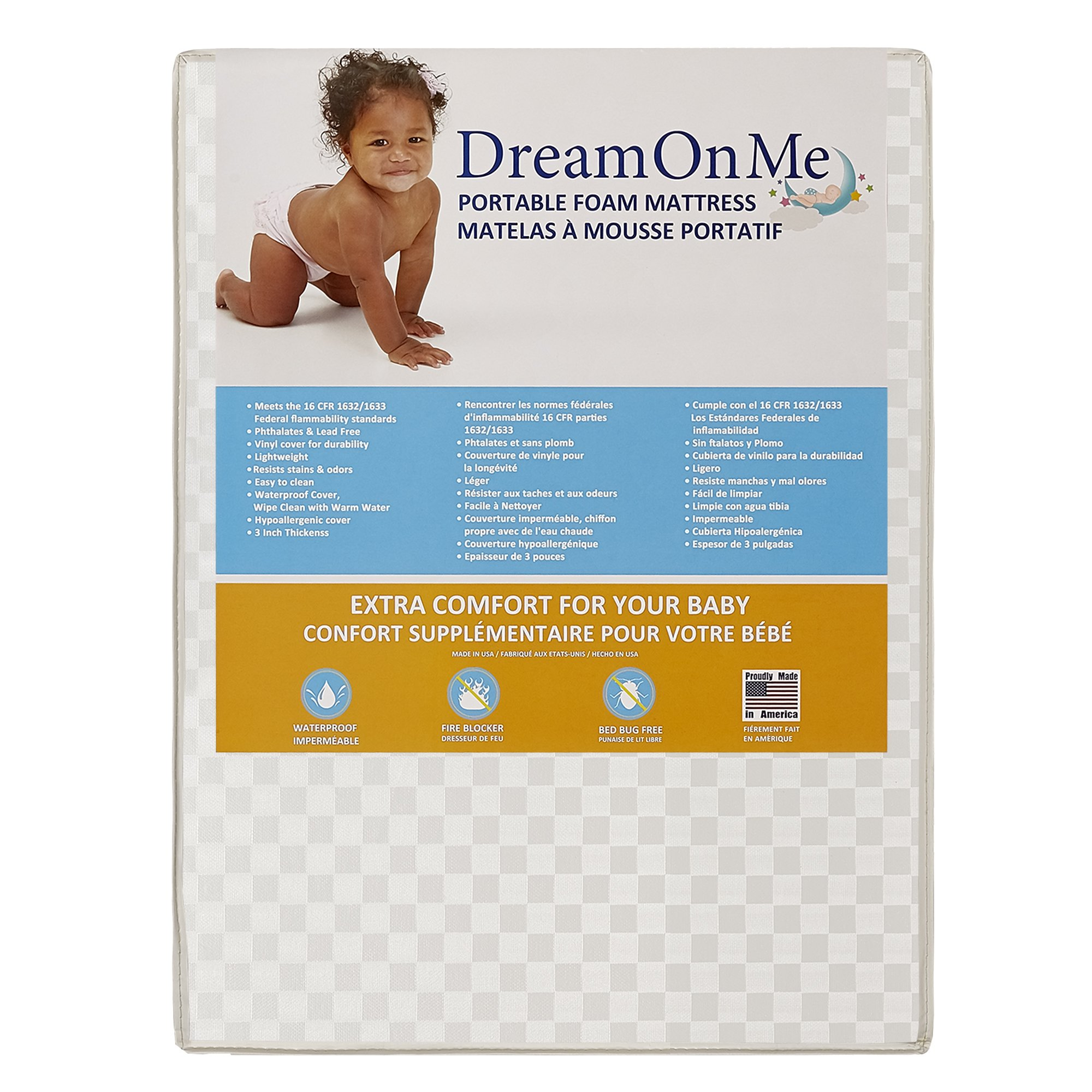 Dream On Me Travel Lite, Mini Foam Playard Mattress with Round Corner by Dream On Me