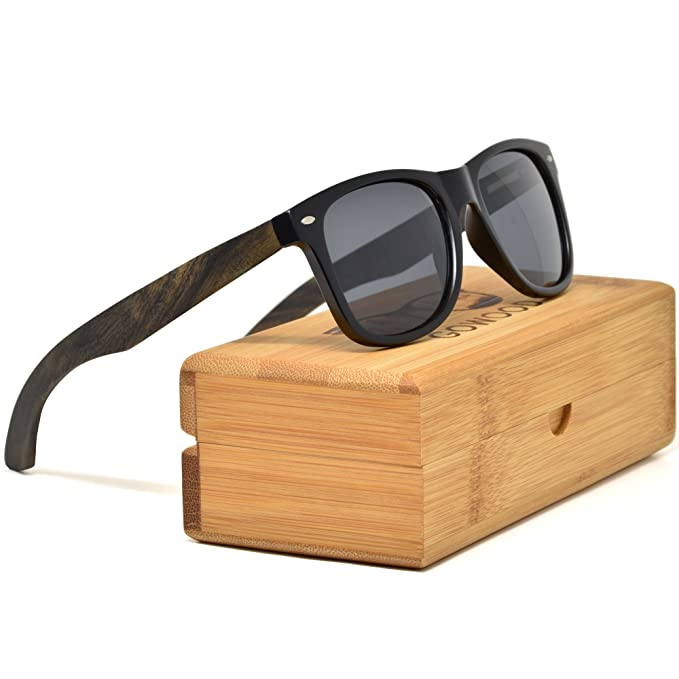 80c288369a Ebony Wood Sunglasses For Men and Women with Black Polarized Lenses with  Bamboo Box GOWOOD Canadian