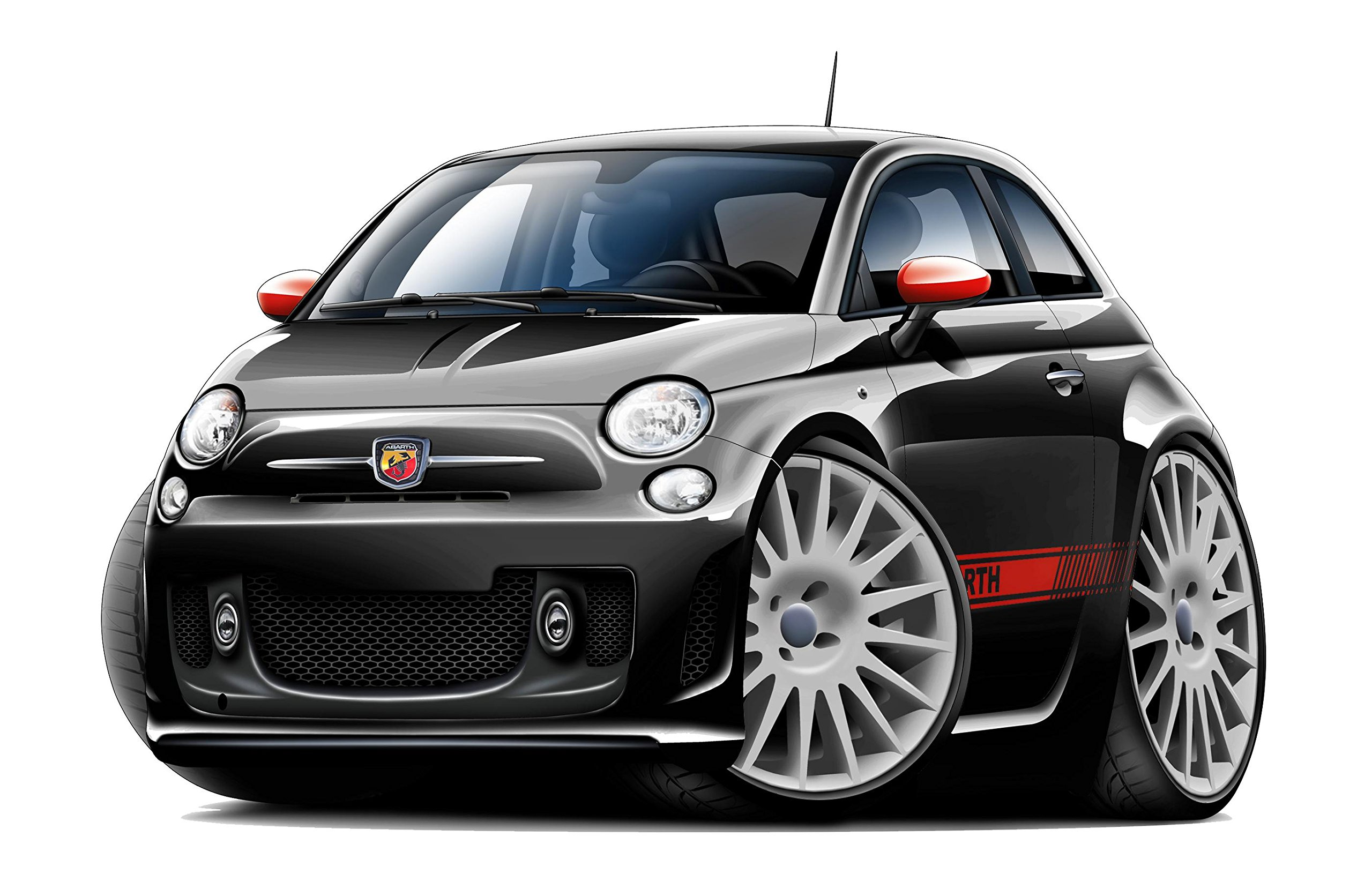 Fiat 500 Abarth WALL DECAL 2ft long Sport Luxury Vehicle Classic Sticker Man Cave Garage Boys Room Decor