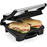 Andrew James Panini Press & Health Grill with Large Non-Stick Plates | Removable Drip Tray & Floating Hinge for Deep Fill Toasted Sandwiches