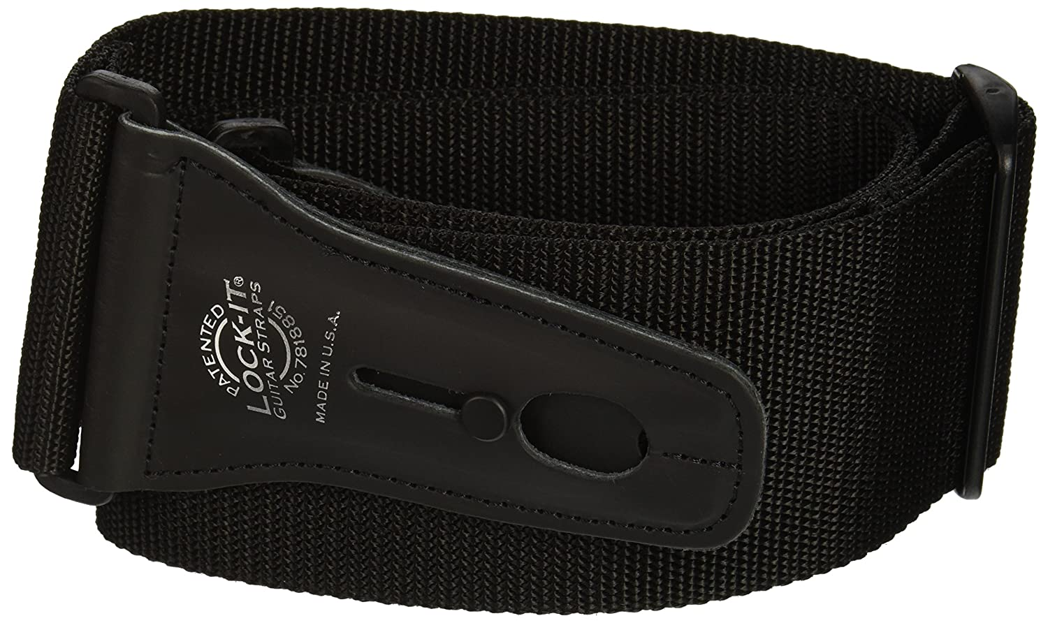 Lock-It Straps LIS 012 P3-BLK 3-Inch Guitar Strap, Black LIS012P3BLK