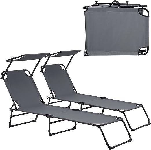 casa.pro] Set de 2 tumbonas plegables 190cm gris oscuro con parasol - hamaca de acero para playa, jardín y piscina: Amazon.es: Jardín