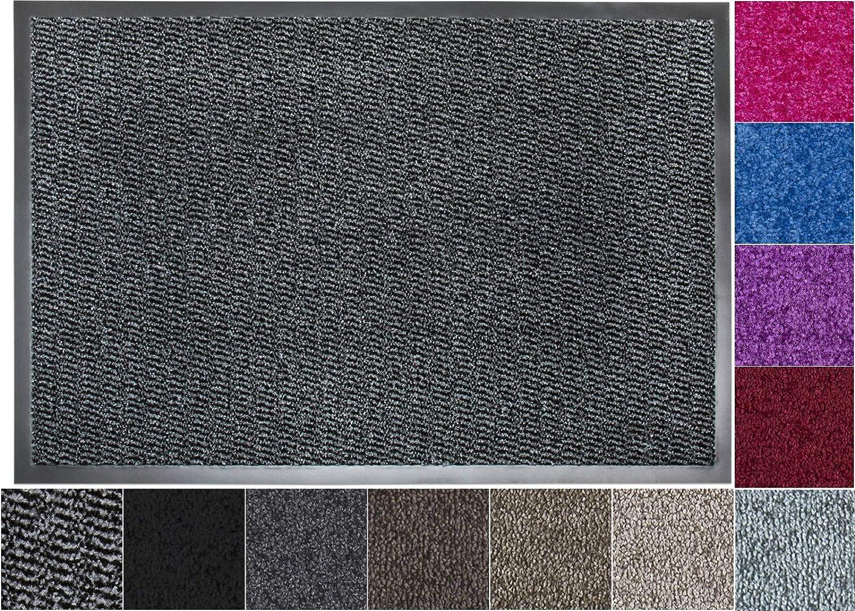 Jan Max Felpudo de Entrada, Alfombrilla Antideslizante, Alfombrilla de la Puerta de Entrada, atrapa la Suciedad en el Pasillo 60 x 80 cm, Gris Antracita Negro