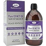 Premium C8 MCT Öl | Glasflasche | Produziert 3X Mehr Ketone als Andere MCT-Öle | Höchste verfügbare Reinheit mit 99,8% | Reine Caprylsäure | Paläo/ Vegan | Ketogen und Low Carb | Ketosource®