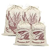 COYMOS Linen Bread Bags-4 Pack Pure Natural Unbleached Bread Bags, Large and Extra Large Bread Loaf Bags for Artisan Bread St