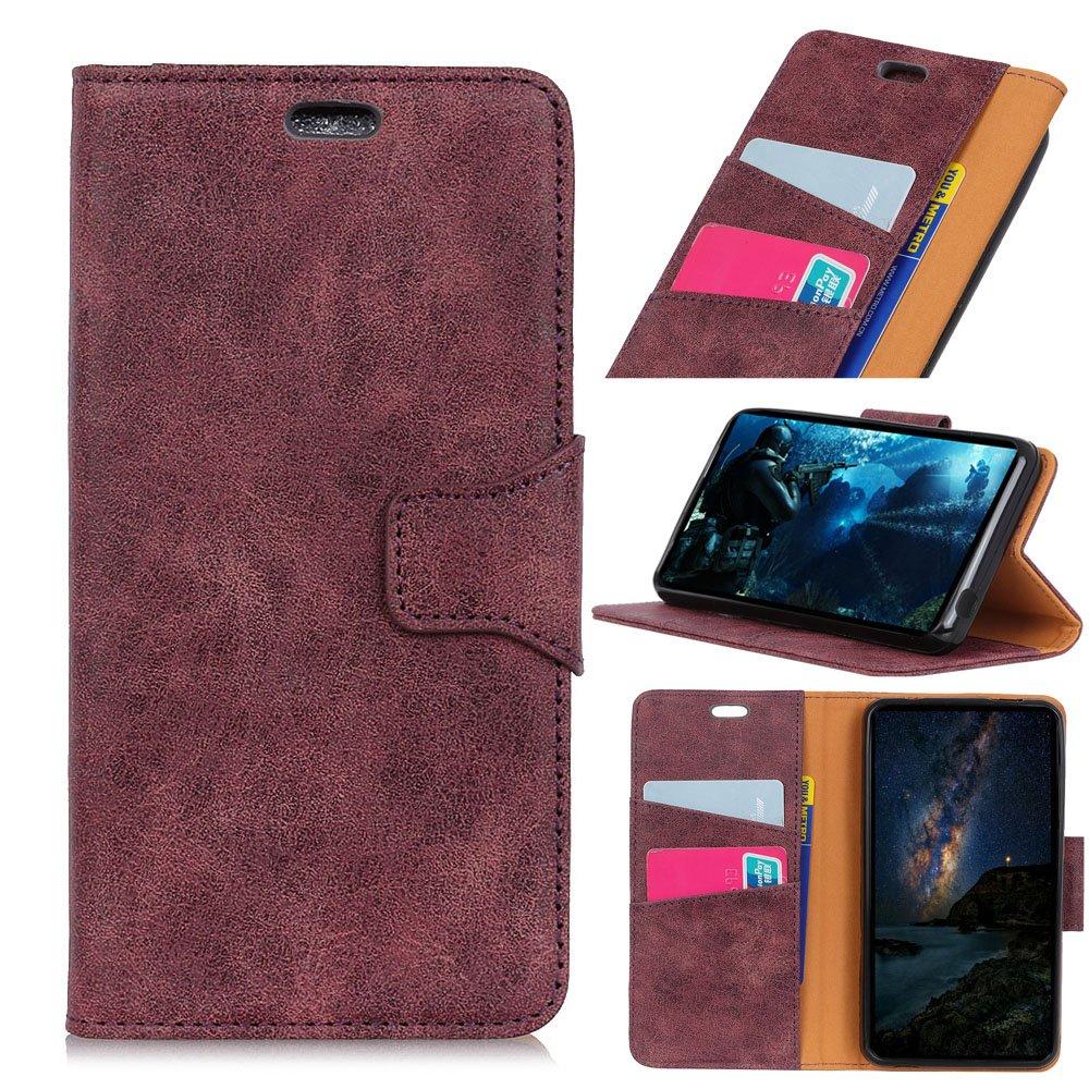 Scheam Alcatel U5 (4G) Case, [Portable Wallet ] [ Slim Fit ] Heavy Duty Protective Excellent Flip Cover Wallet Case Alcatel U5 (4G) - Purple