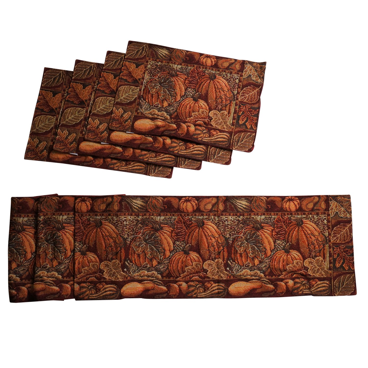 Harvest Pumpkin Tapestry Table Runner and Placemats, Set of 5 by One Holiday Lane