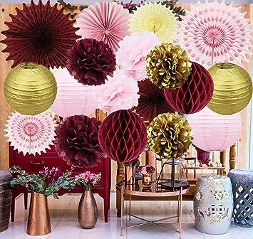 Amazon Com Maroon Bridal Shower Decorations Burgundy Pink Gold