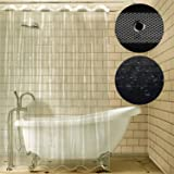 Carttiya Shower Curtain Liner, Mildew Resistant Anti-bacterial Shower Curtain, Non Toxic Eco-friendly No Chemical Odor, Metal Grommets 72x72 (Clear)
