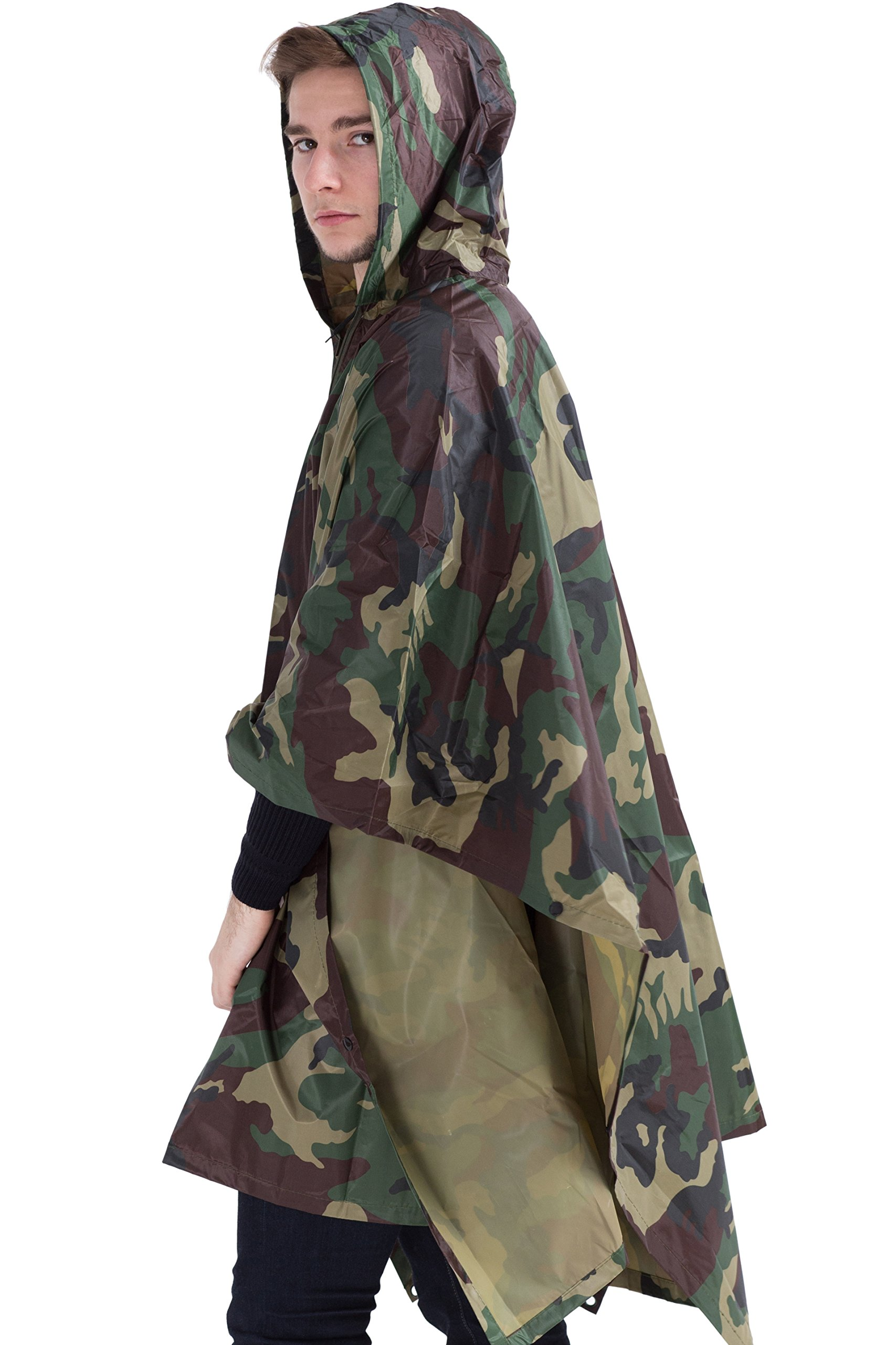 Msmsse Men's Rain Poncho Outdoor Multifunction Military Raincoat Jungle Camouflage