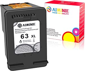 AIMINIE Remanufactured Ink Cartridge Replacement for HP 63XL 63 XL to Use with Envy 4520 3634 OfficeJet 3830 5252 4650 5258 4655 4652 5255 DeskJet 3636 1111 3630 1112 3637 3632 Printer (Black, 1-Pack)