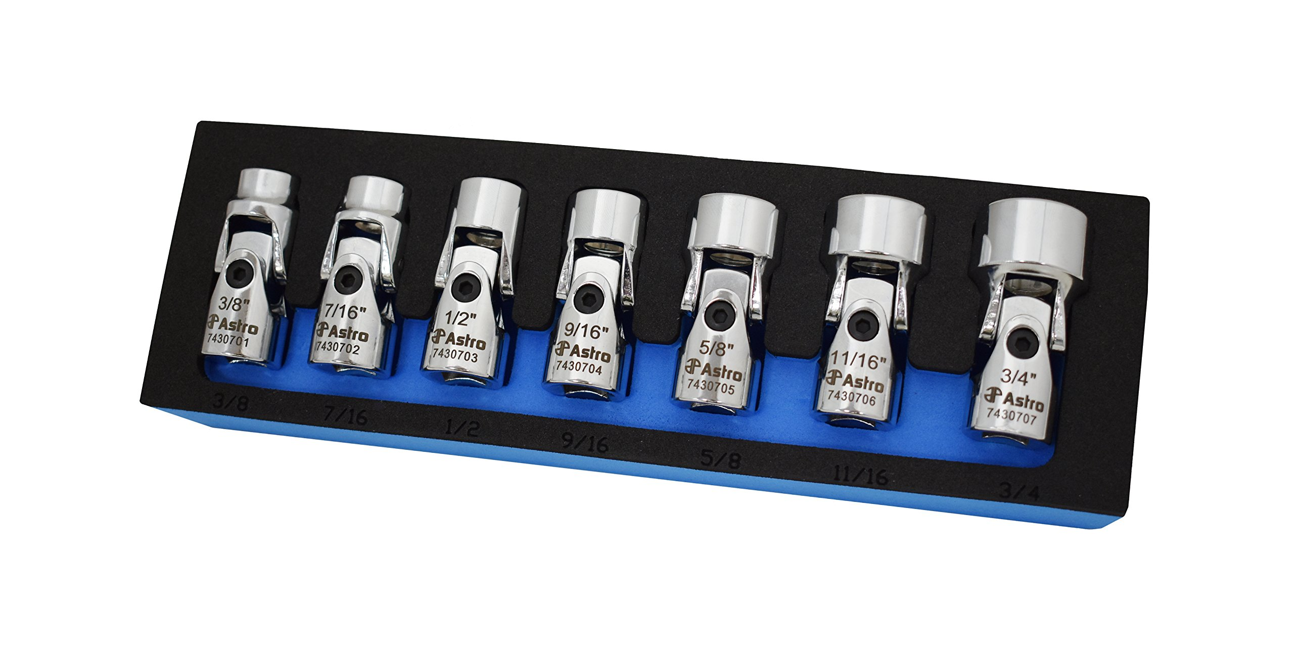 Astro Pnematic - 7Pc 3/8'' Drive Flex Socket Set - 6 Pt. - SAE (model: 74307) by Astro Pneumatic Tool
