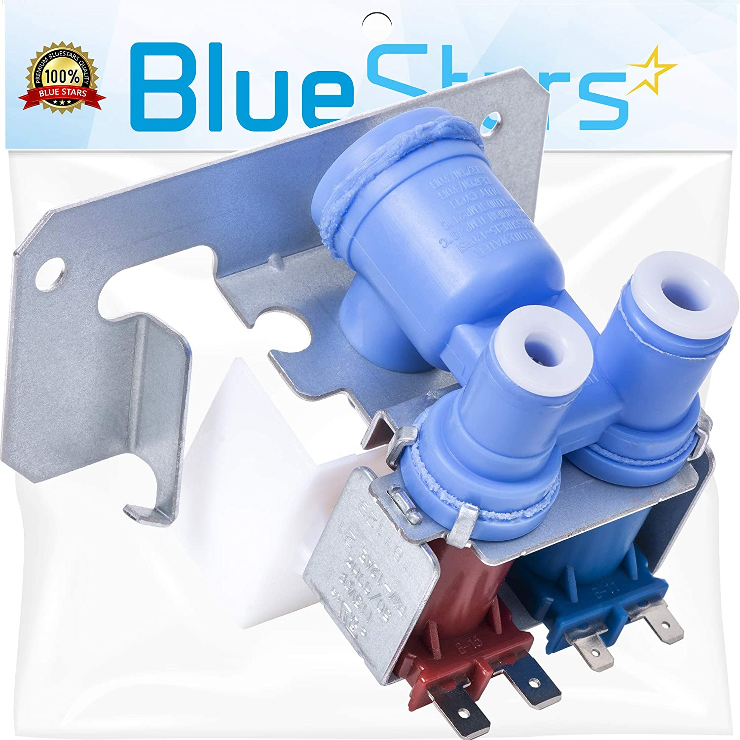 Ultra Durable WR57X10051 Refrigerator Dual Inlet Water Valve Replacement part by Blue Stars - Exact Fit for Whirlpool & Kenmore Refrigerators - Replaces 1032629, 66048, AP3672839, WR02X10105, WR2X1010