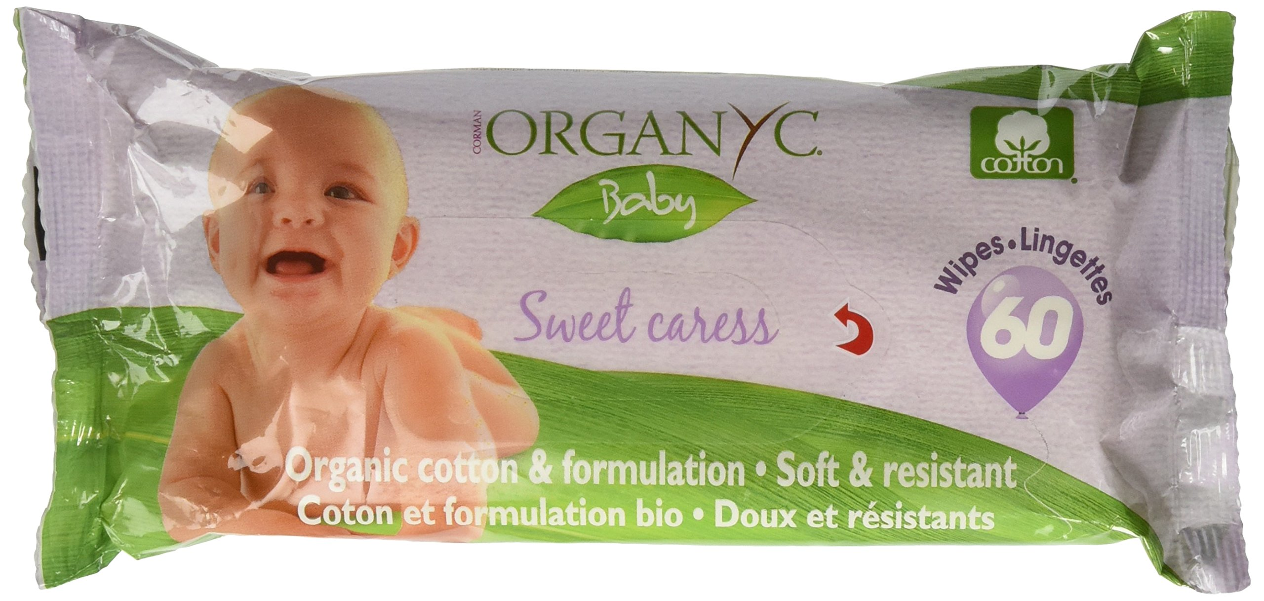 Organyc 100% Organic Cotton Baby Wipes for Sensitive Skin, 60 Count (Pack of 12)