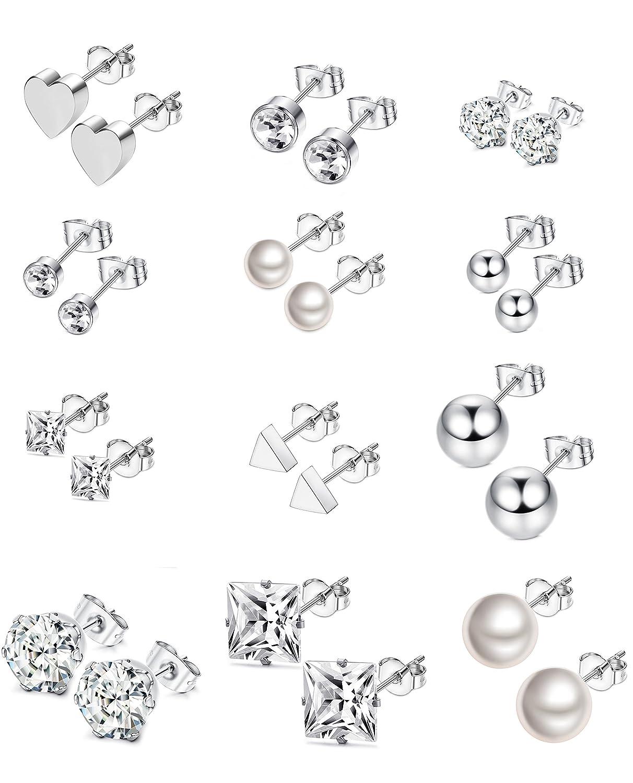 Thunaraz 12Pairs Surgical Steel Stud Earring Set Earring Ball Triangle Heart CZ Earring