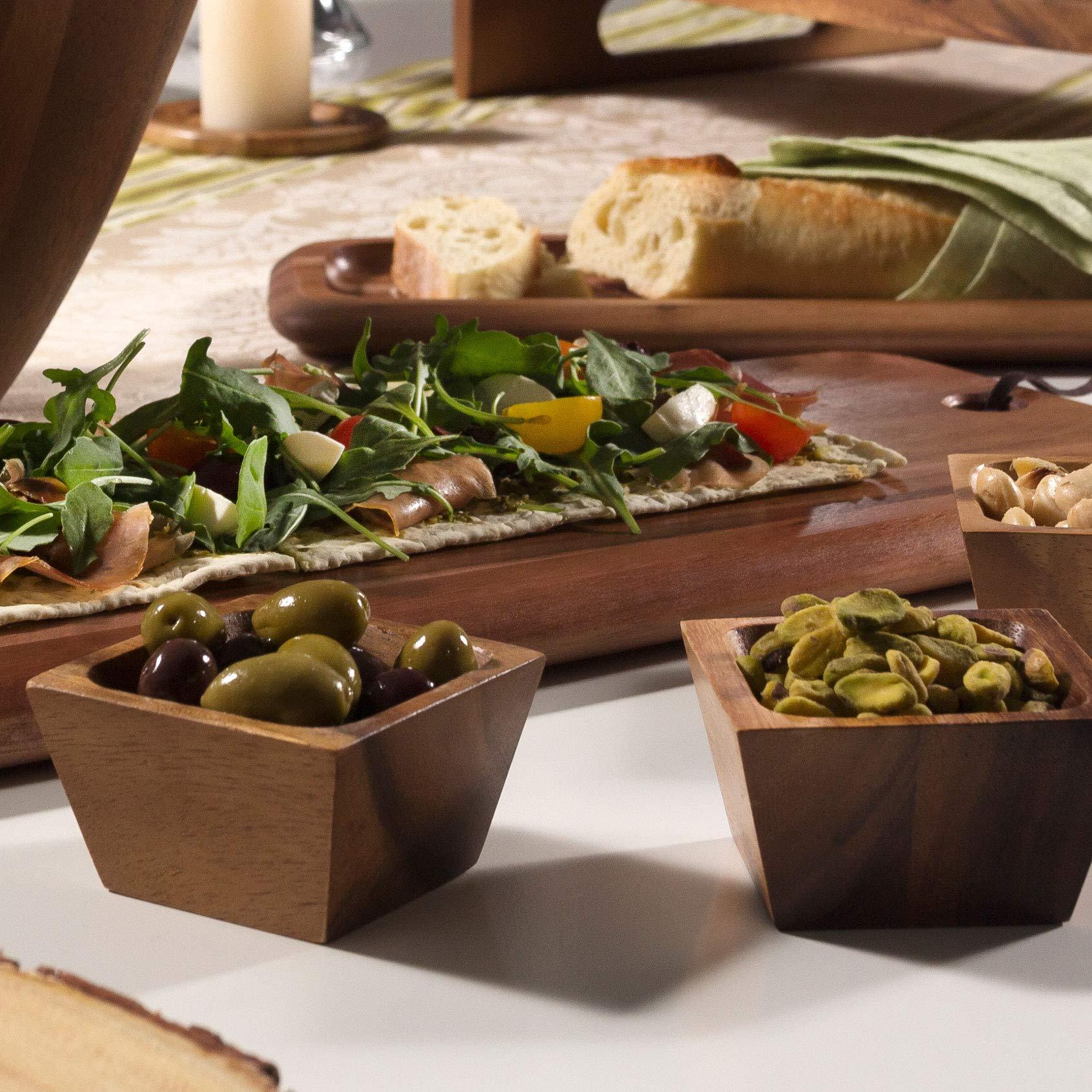 Lipper International 1100-2 Acacia Wood Square Salt Pinch or Serving Bowls, 3'' x 3'' x 2-1/2'', Set of 2 by Lipper International (Image #2)