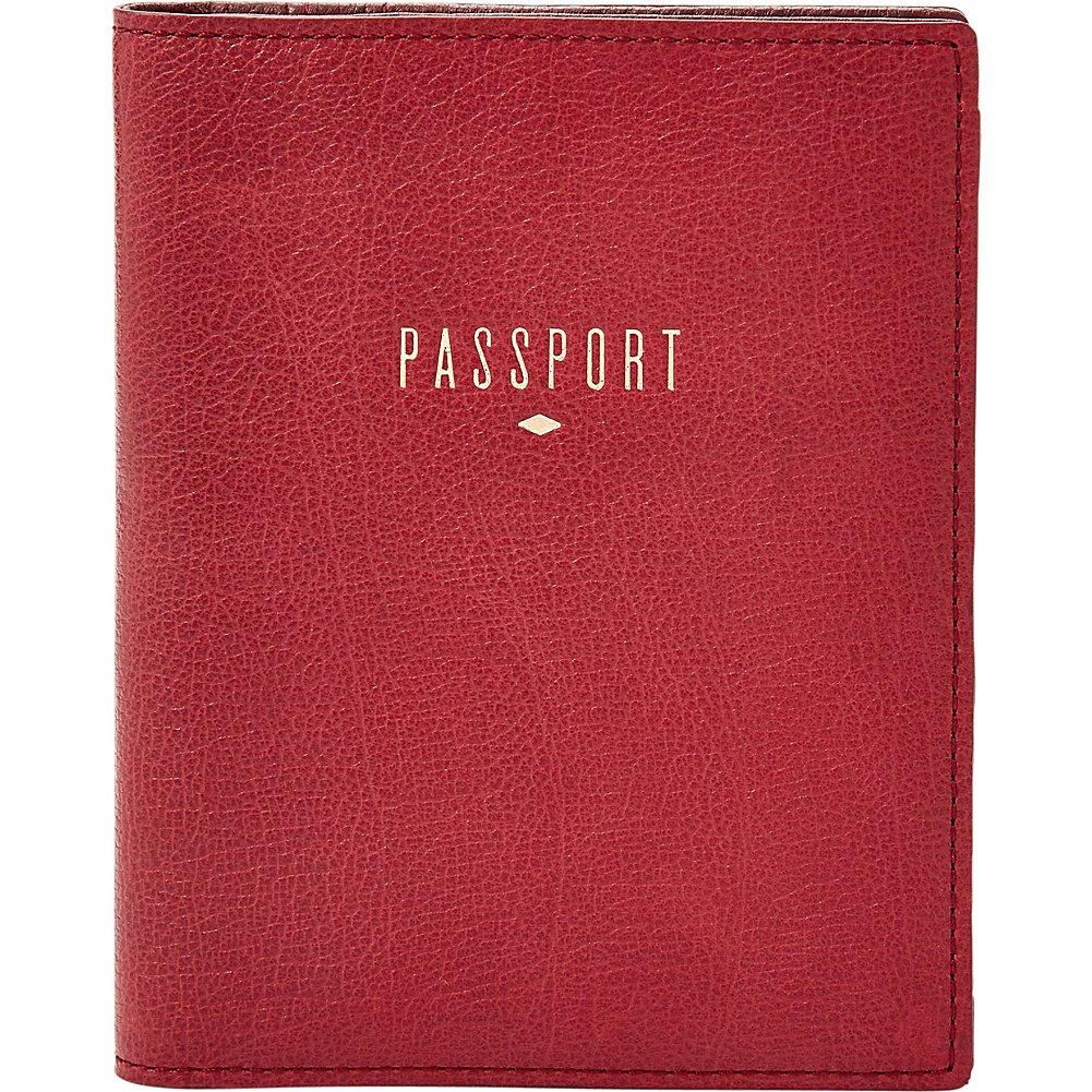 Fossil Women's Travel Rfid Passport Case Red Velvet