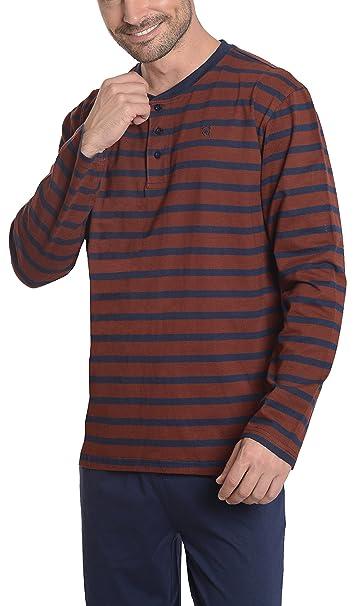 Pijama de Caballero Largo Moderno a Rayas/Ropa de Dormir para Hombre - Punto,