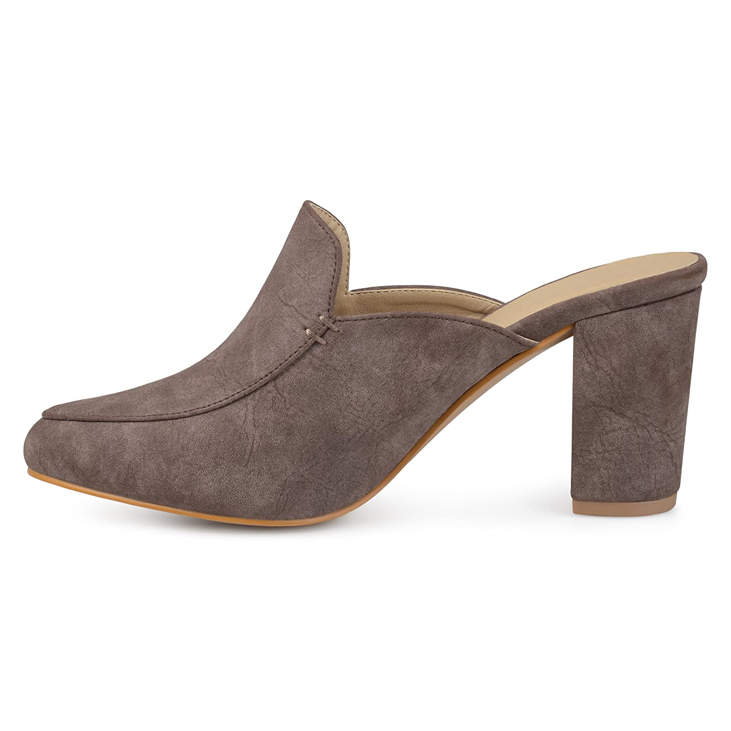 f2186c4d0c1 Brinley Co Womens Thirza Block Heel Distressed Loafer Mules marrón