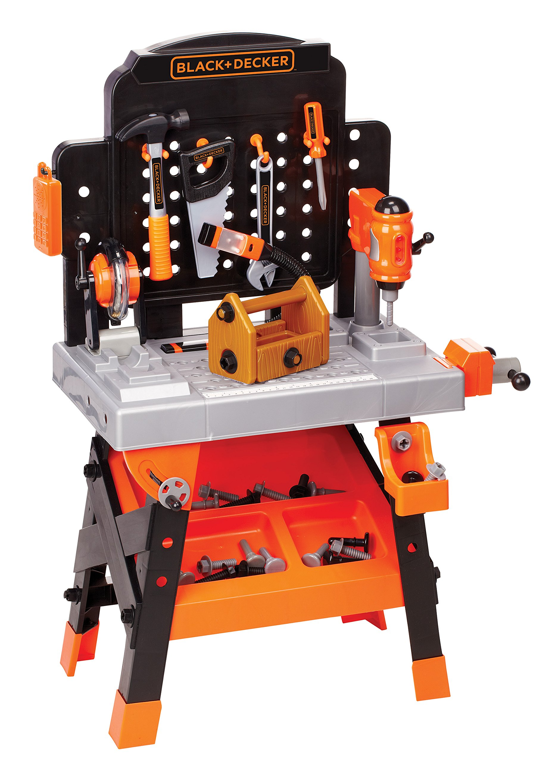Decker Power Tool Workshop - Play Toy Workbench for Kids with Drill, Miter Saw and Working Flashlight - Build Your Own Tool Box - 75 Realistic Toy Tools and Accessories [Amazon Exclusive] by BLACK + DECKER