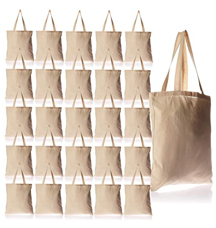 b2b2dcd5e14d 25 Pack Bulk Cotton Canvas Tote Bags Reusable Grocery Shopping Blank Tote Bags  in Bulk Blank
