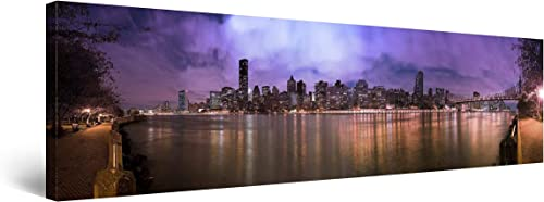 Startonight Canvas Wall Art Manhattan New York Water Reflection