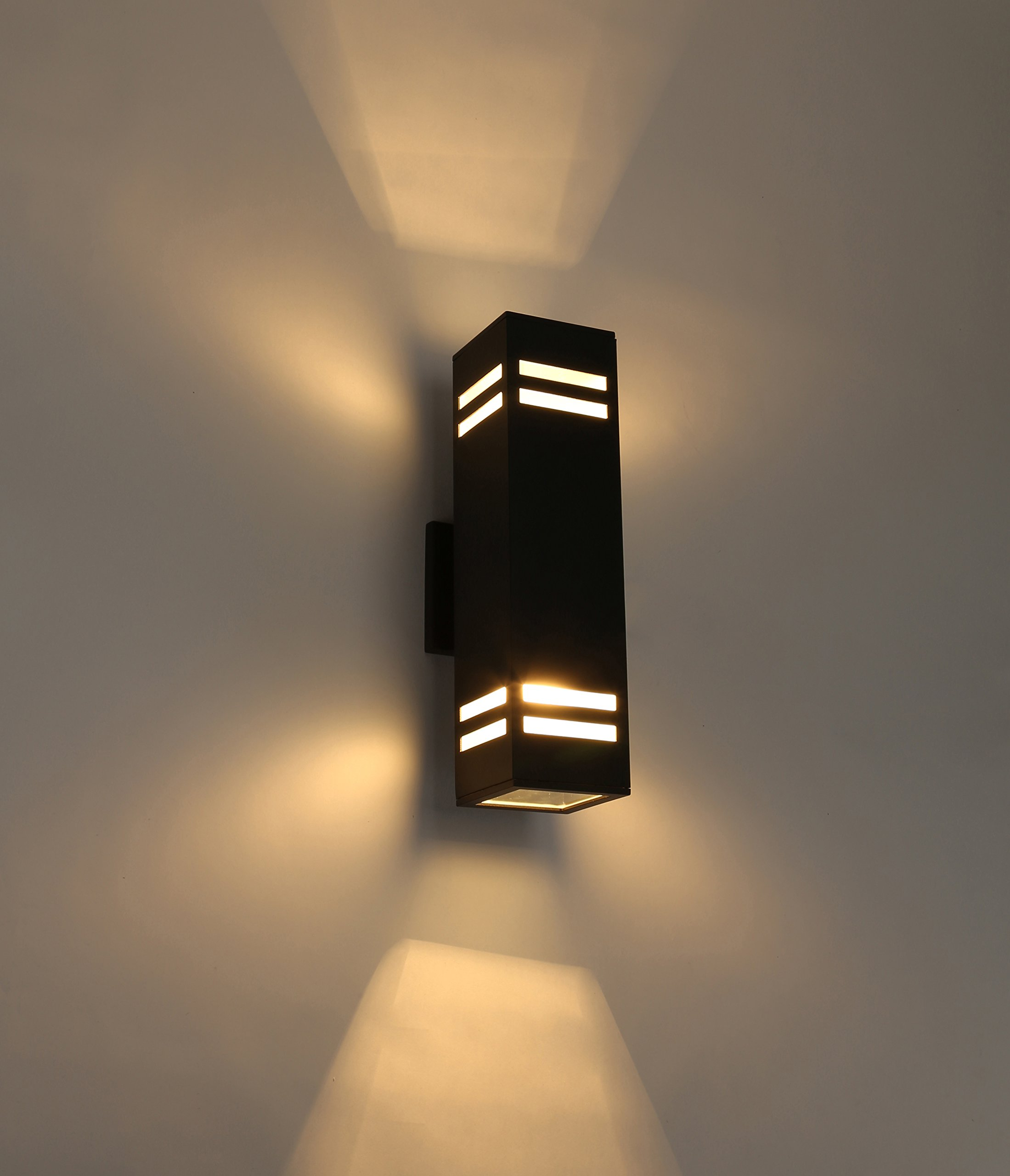Cerdeco 67351TZ Brandon 2-Light Outdoor Wall Lamp, Sand Textured Black with 3-Sided Frosted Glasses [UL Listed]