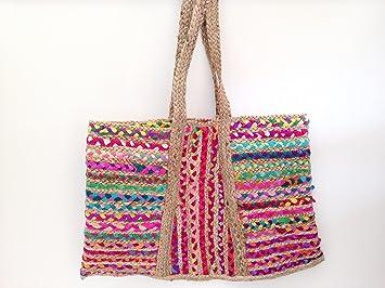 Women s Accent Sari with Hemp Diaper Beach Market Bag - Made From  Repurposed Jewel fba087018c