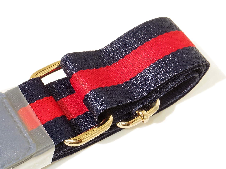 Navy Red Stripe Bee 3.8cm Wide Nylon Handle Shoulder Unisex Strap Belt 51.2