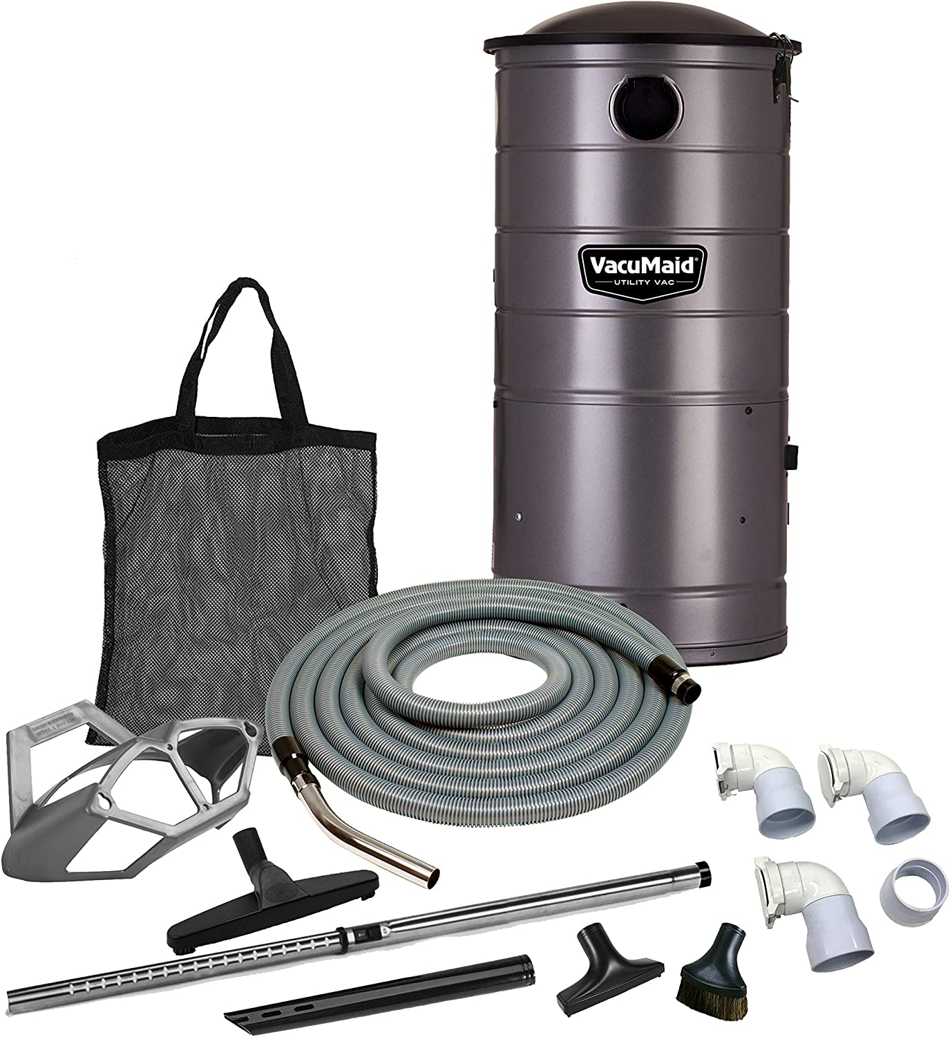 VacuMaid UV150GKP3 Extended Life Professional Wall Mounted Utility Vacuum with 50ft. Garage Kit Pro Unit and Kit Plus 3 Inlets