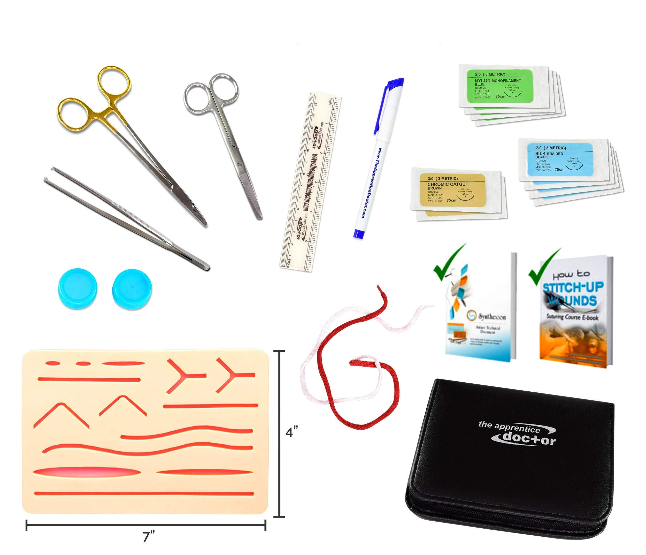 Suture Practice Kit by The Apprentice Doctor | includes Suturing Video Series from an Experienced Surgeon, Two eBook Training Guides, & Silicone Suturing Skin Pad - for Training Medical Professionals.