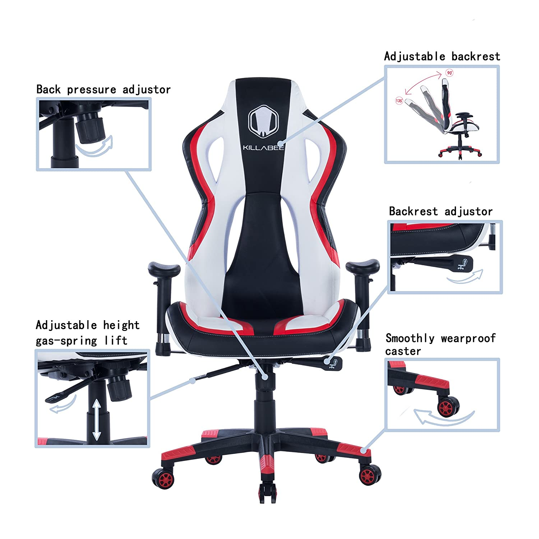 Killbee Silla de oficina giratoria reclinable de estilo de carreras para juegos, silla de oficina ejecutiva de piel PVC: Amazon.es: Juguetes y juegos
