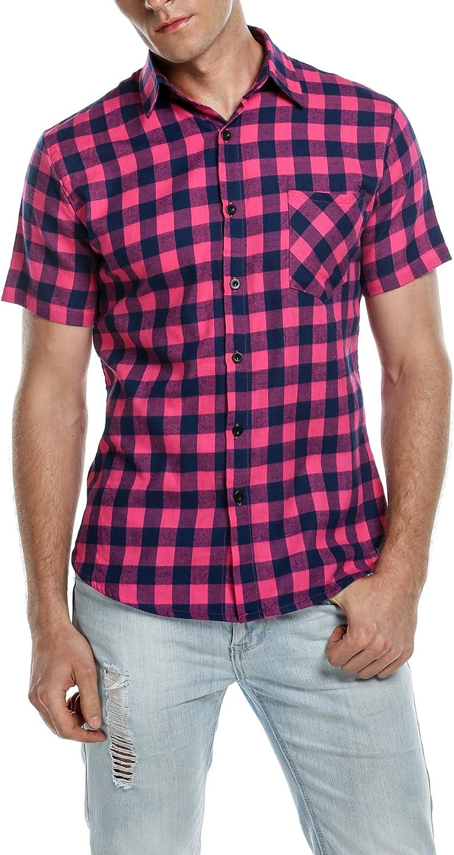 Coofandy Camisa Hombre a Cuadros Manga Corta Casual Rosa Roja Talla-3XL