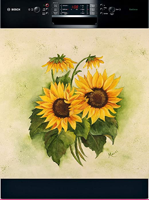 Sunflowers Dishwasher Art Painted Magnetic Dishwasher Cover DA - 11258