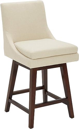An Amazon Brand Stone Beam Alaina Contemporary Leather High-Back Swivel Seat Counter Stool