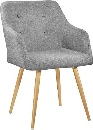 TecTake 402981 Chaise de Salle à Manger Confort, Fauteuil de Salon Rembourré au Design Scandinave 55 cm x 54 cm x 82,5 cm Gris