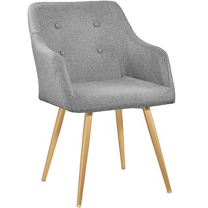 TecTake 402981 - Chaise Fauteuil de Salle à Manger de Bureau de Salon  Rembourré Confort Design Scandinave 55 cm x 54 cm x 82,5 cm Gris