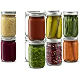 Glass Regular Mouth Mason Jars, 12 Ounce Glass Jars with Silver Metal Airtight Lids for Meal Prep, Food Storage, Canning, Dri