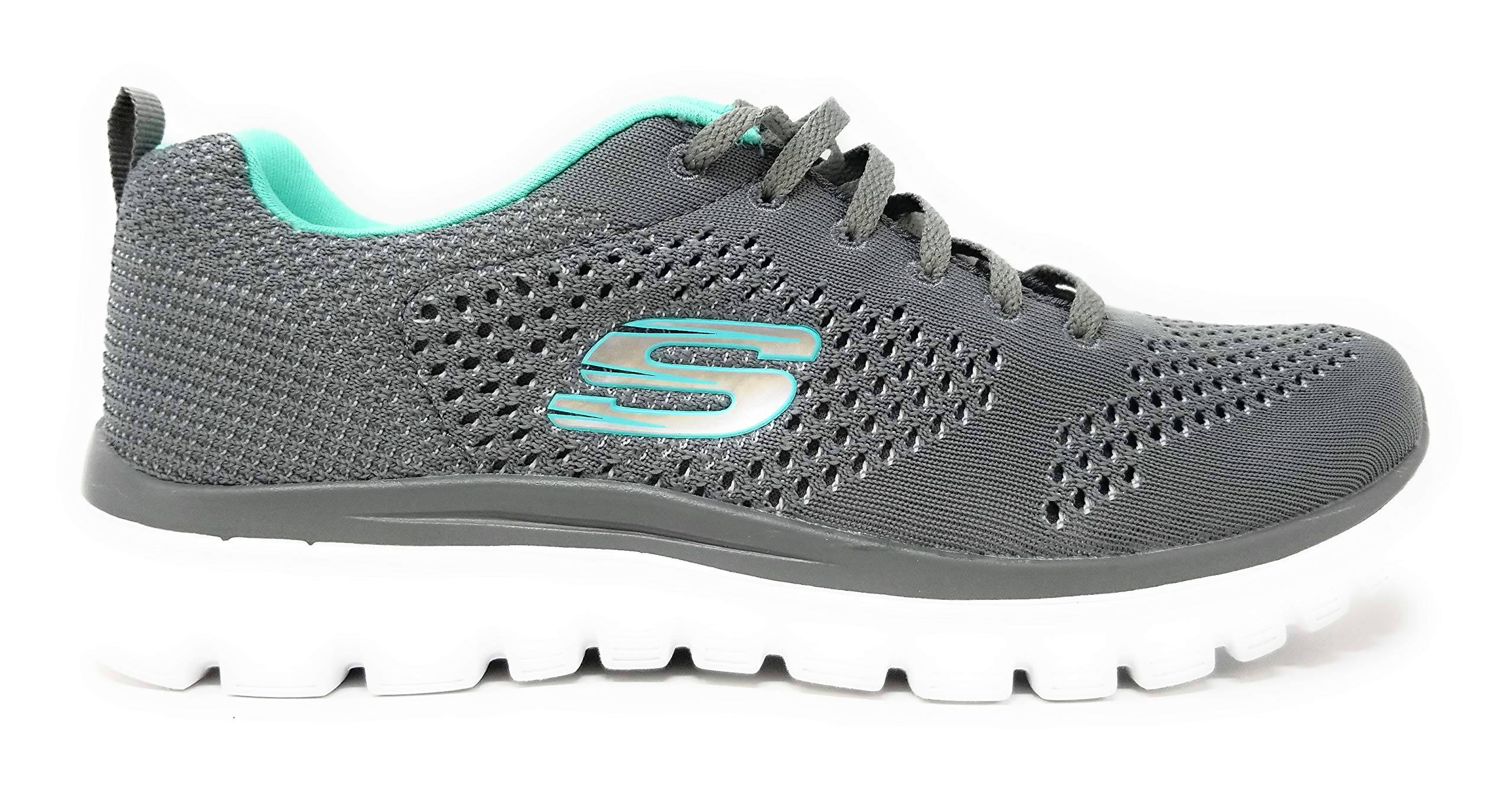 Skechers Graceful 2.0 Magnificent Journey Walking Shoes, 6.5 B US, (Gray/Aqua/So Noticable) by Skechers
