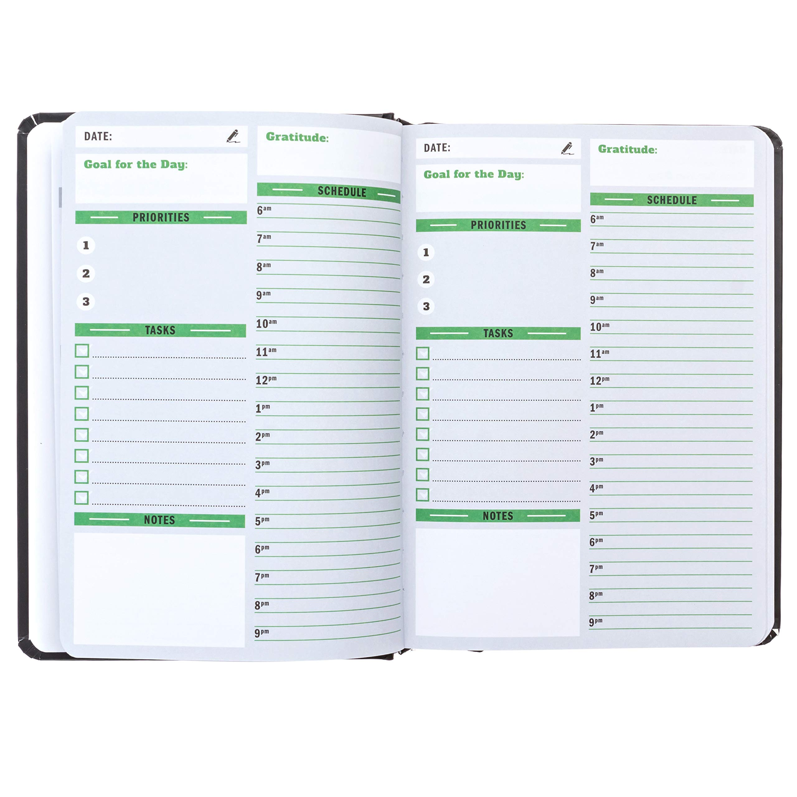 Sunnyside Undated Planner - Daily Organizer, Hourly, Day and Monthly Planner | Full Size Non-Dated Calendar Journal for Appointments, Tasks, Goal Setting, Tracking Priorities and Gratitude Notes