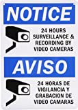 """SmartSign Aluminum Sign, Legend """"Notice: 24 Hours Recording by Video Cameras"""", Bilingual Sign with Graphic, 14"""" high x 10"""" wide, Black/Blue on White"""