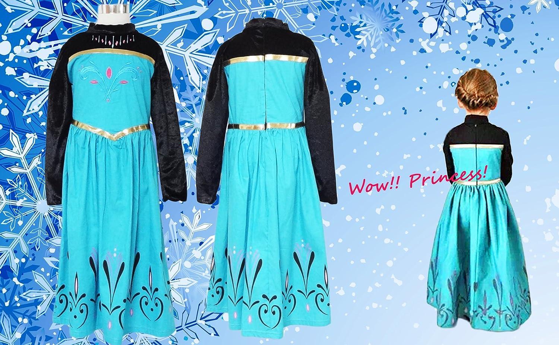 Elsa Kleid Kinder Krönung Kostüm 4 teiliges Set (Kleid