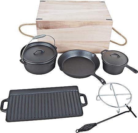 7-teiliges Dutch Oven Set in Holzkiste Kochtopf-Set aus Gußeisen