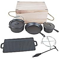 Dutch Oven El Fuego Startset klein Gusseisen schwarz Garten Camping Picknick ✔ rund