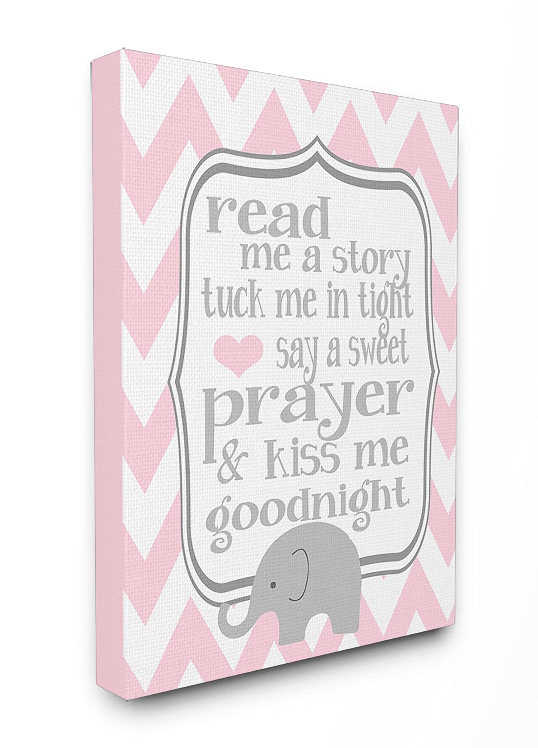 The Kids Room by Stupell Art Wall Plaque, Read Me A Story/Elephant in Pink Chevron, 11 x 0.5 x 15, Proudly Made in USA brp-1682