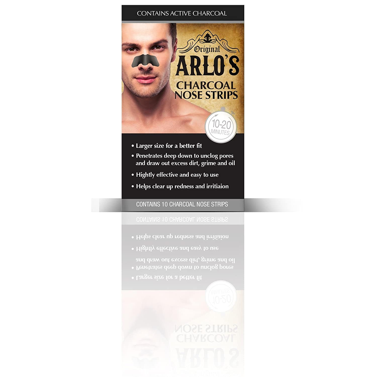 Arlo's Men's Charcoal Nose Strips 10-Count (Pack of 4) Fisk Industries