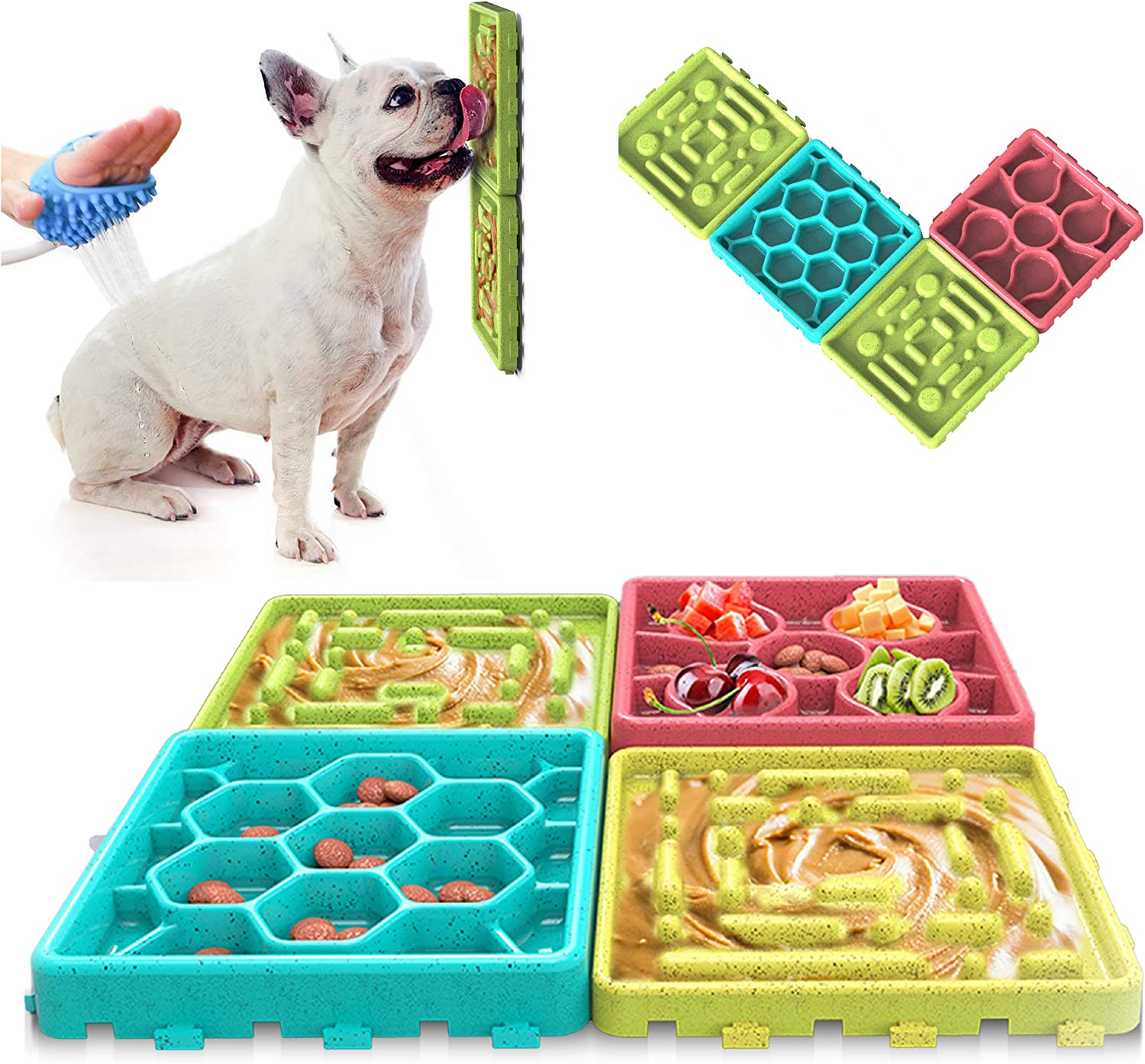 Any Pet - Slow Feeding Mat, Tray, Slow Feeder Dog Bowls, Food Mat for Dog, Dog Lick Pad Anxiety Relief Feeding Mat with Suction