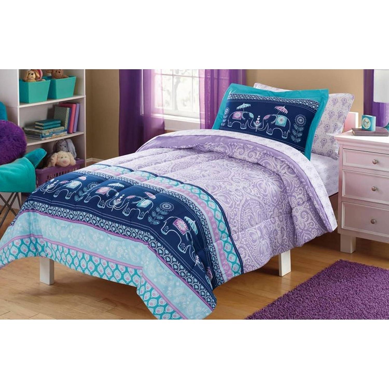 5 Piece Girls Pastel Blue Elle Boho Comforter Twin Set, Kids Elephant Bedding Purple Bohemian Themed Bed In Bag Medallion Paisley Floral Mandala Damask Diamonds Designs Heritage Versatile, Polyester