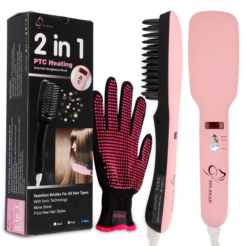 2 en 1 Alisador de cabello Cepillo PTC calor pelo 5 Ajustes de calor para diferentes tipos de cabello 360 grados. Guantes Resistente al calor: Amazon.es: ...